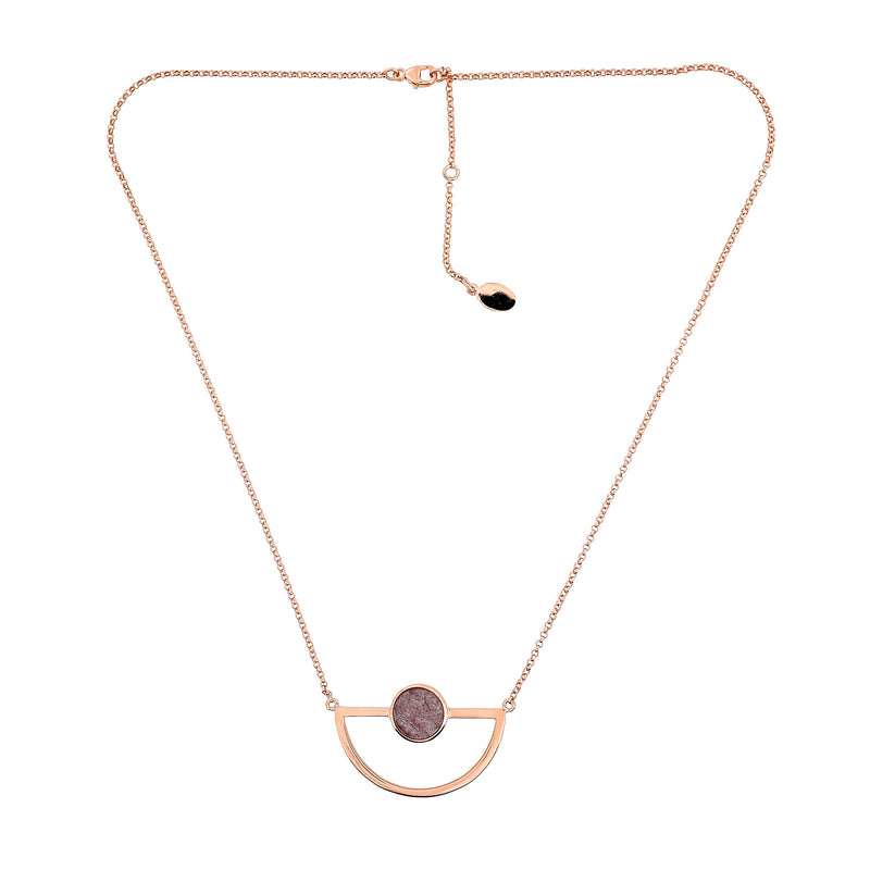 Ithica Semi-Circle Necklace with Strawberry Quartz