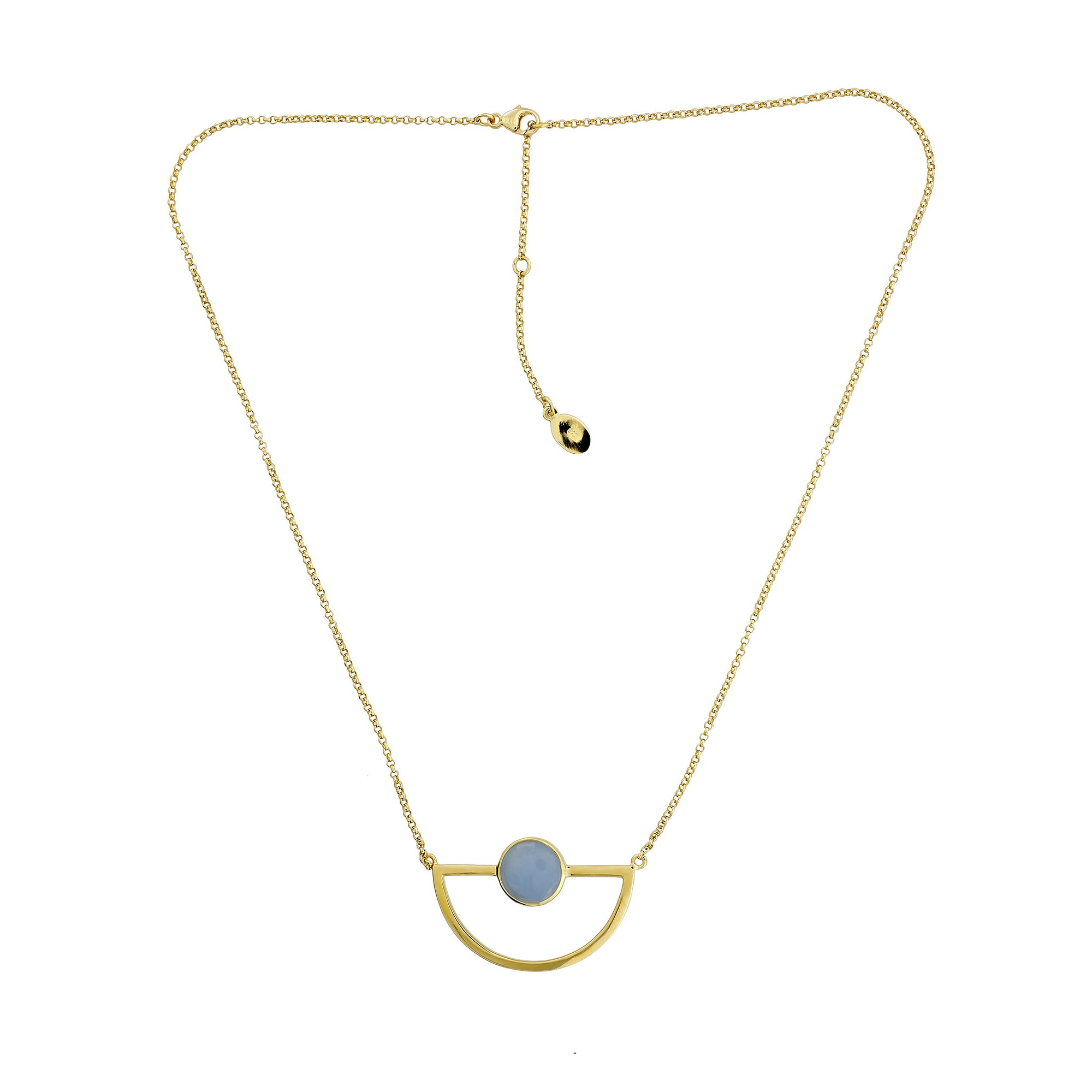 Ithica Semi-Circle Necklace with Aqua Chalcedony