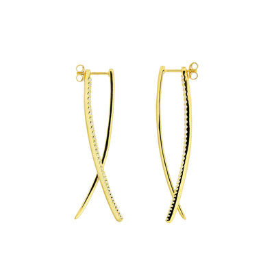 Balanced Double Curl Earrings - With Pavé