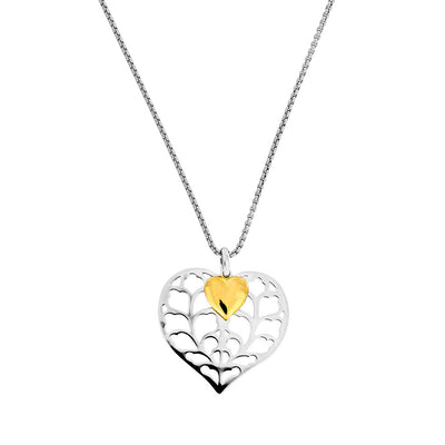 Silver Heart of Yorkshire Double Pendant with Gold Vermeil