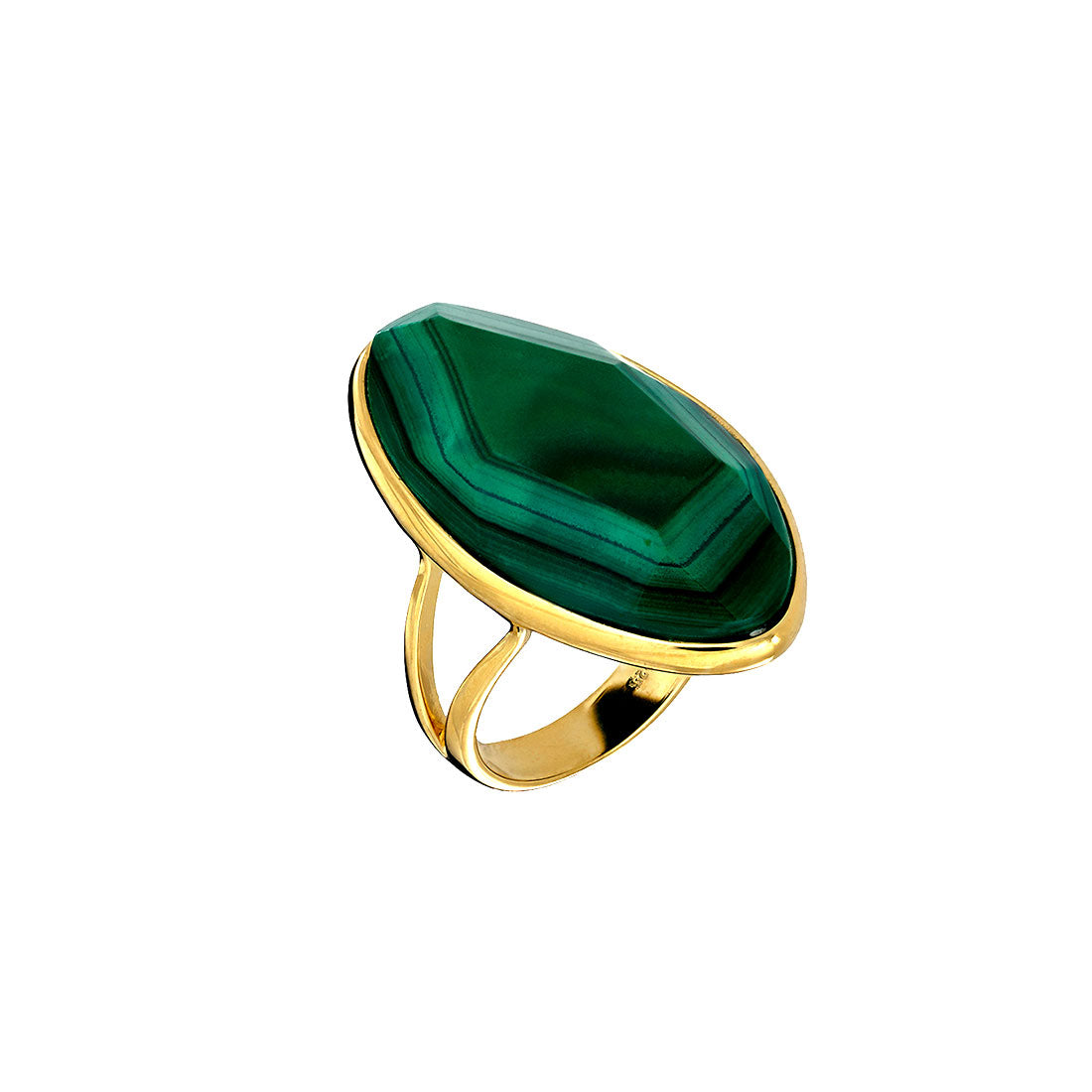 18ct Gold Vermeil Malachite Stone Ring