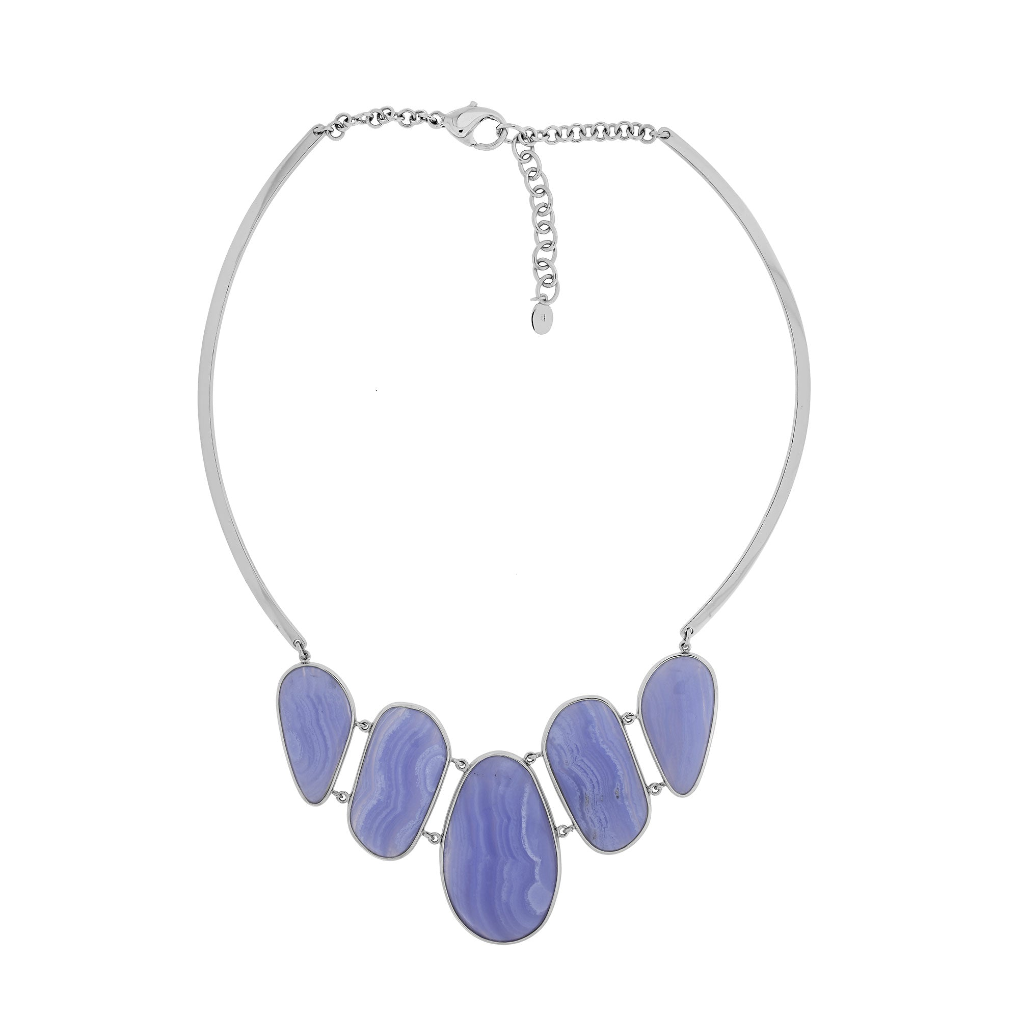 Blue Agate and SIlver Avalon Statement Necklace