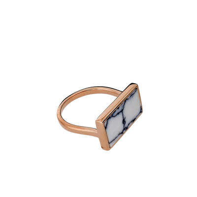 Horizon Landscape Rectangle Ring in  White Howlite & Rose Gold Vermeil
