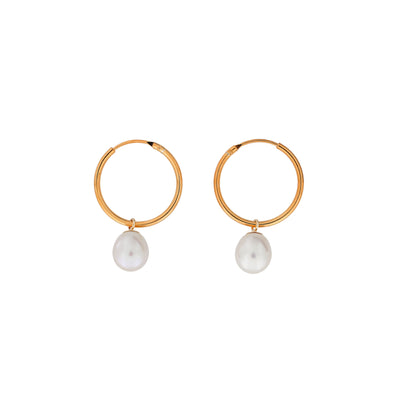 Teardrop Freshwater Pearls Hoop Earrings