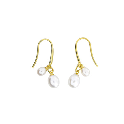 Twin Teardrop Freshwater Pearls Drop Earrings