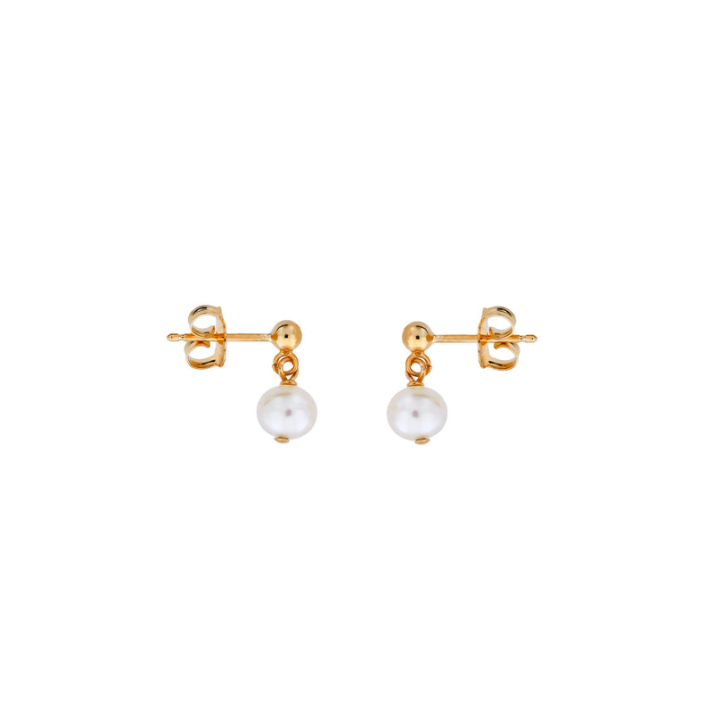 Round Pearl Drop Earrings - 5mm