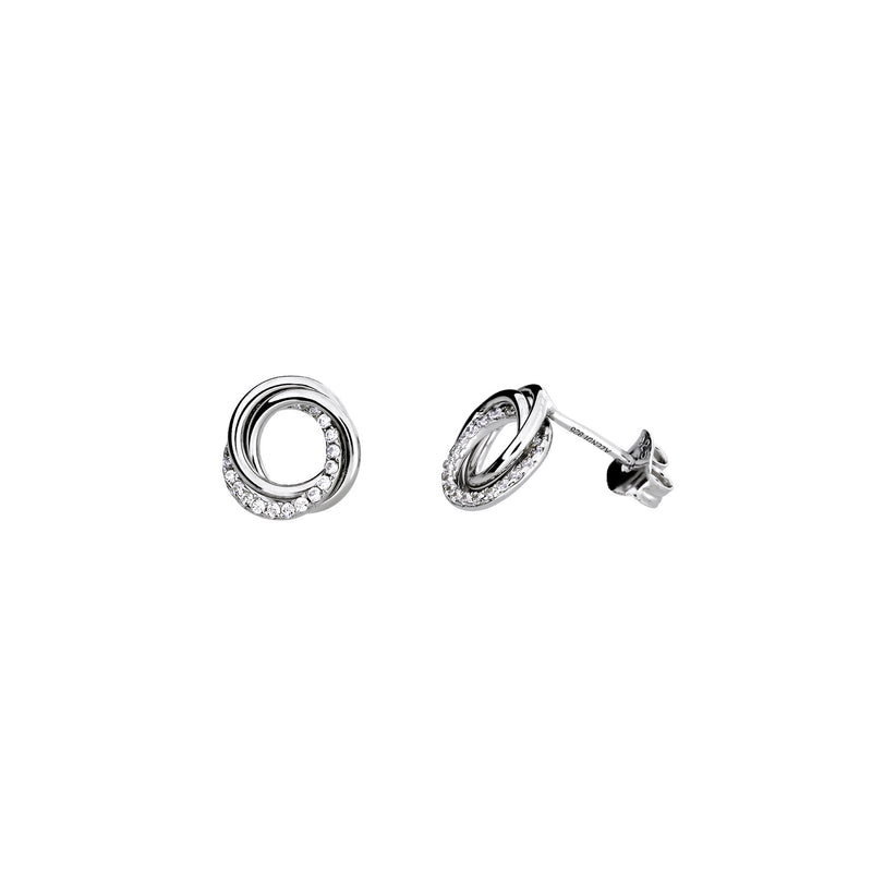 ENTANGLED LOVE KNOT STUD EARRING WITH PAVÉ