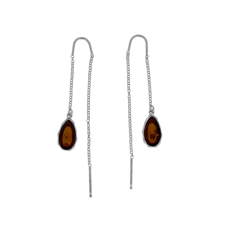 Northern Lights Amber Threader Earrings in Silver