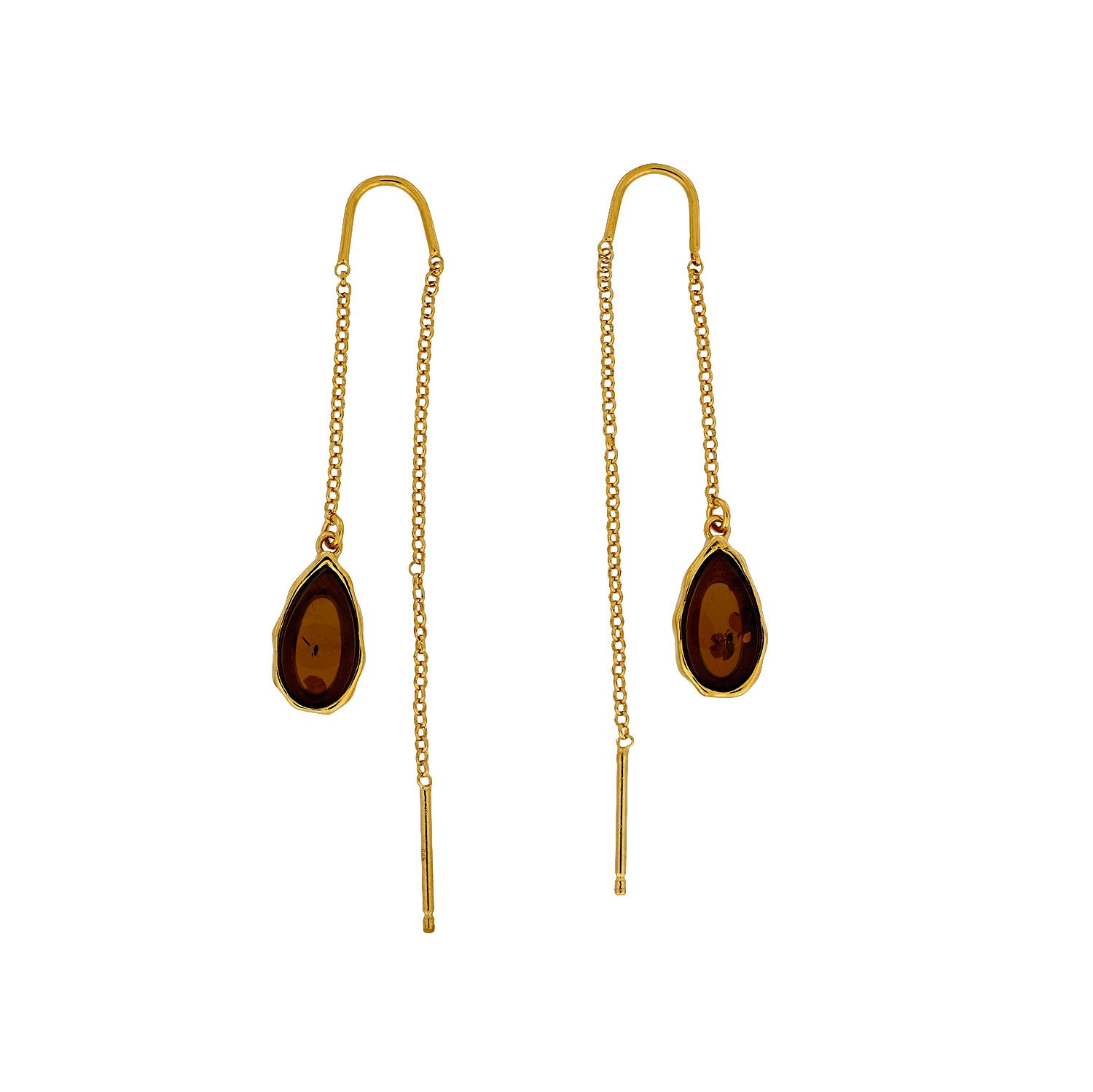 Northern Lights Amber Threader Earrings in Gold Vermeil