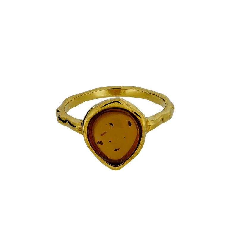 Northern Lights Baltic Amber Ring in Gold Vermeil
