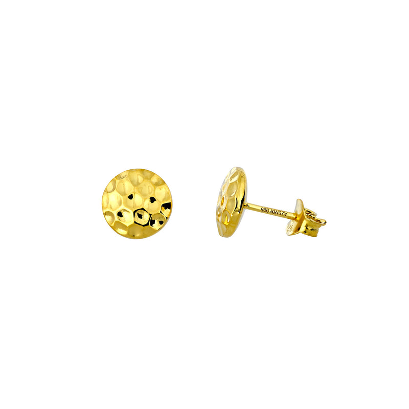 Planished Double Curved Button Stud Earrings