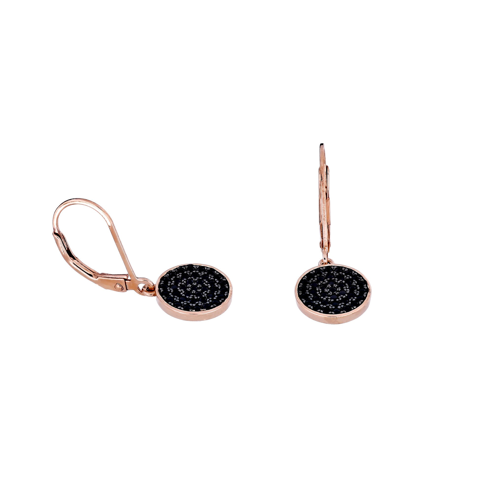 Midnight Rose Circle Drop Earrings