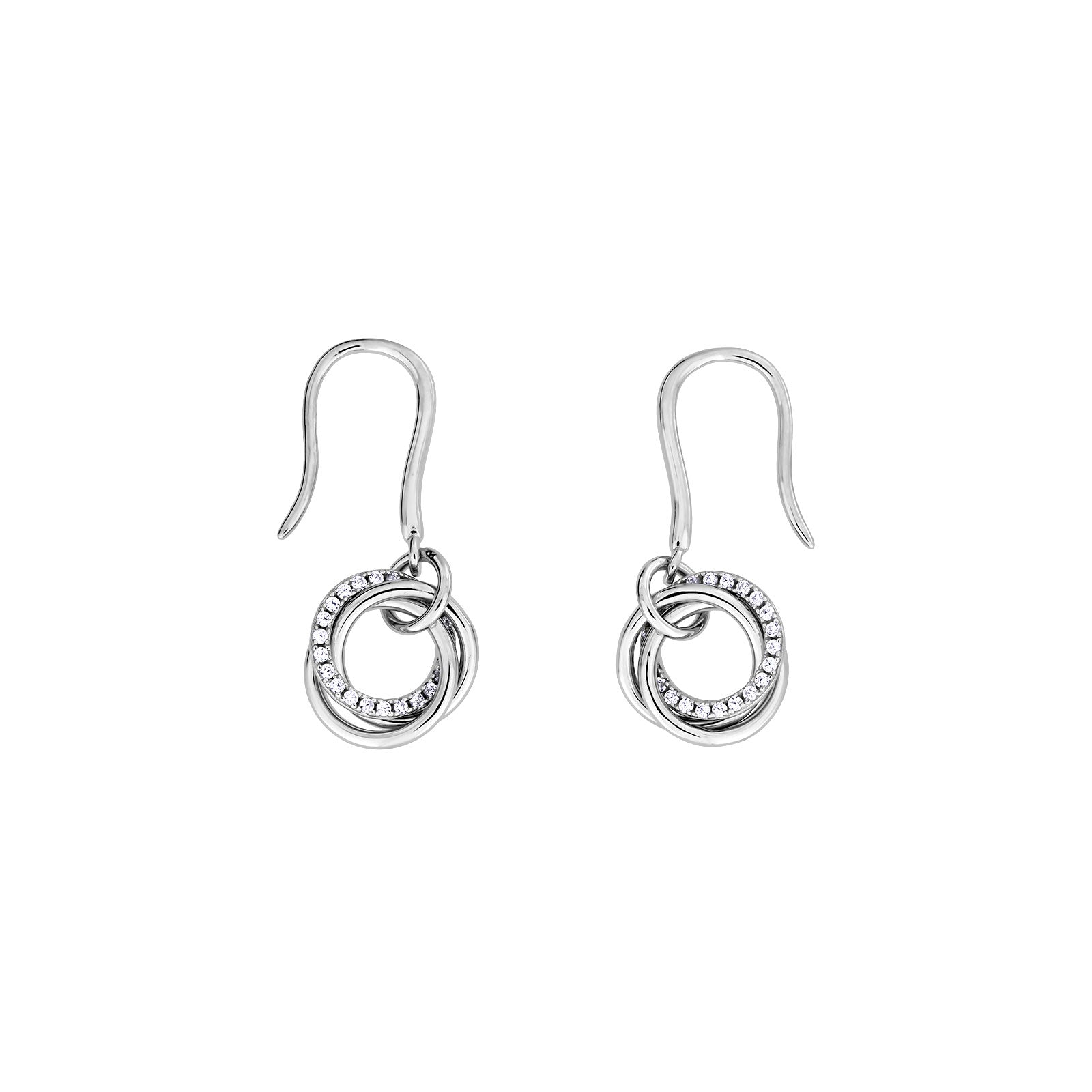 Entangled Love Knot Simple Drop Earring - With Pavé
