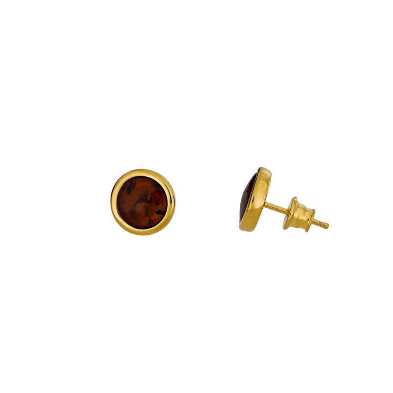 Gold Vermeil & Amber Large Button Studs; 8mm
