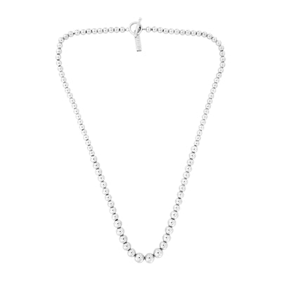 Graduated Silver Bead Necklace with T-Bar