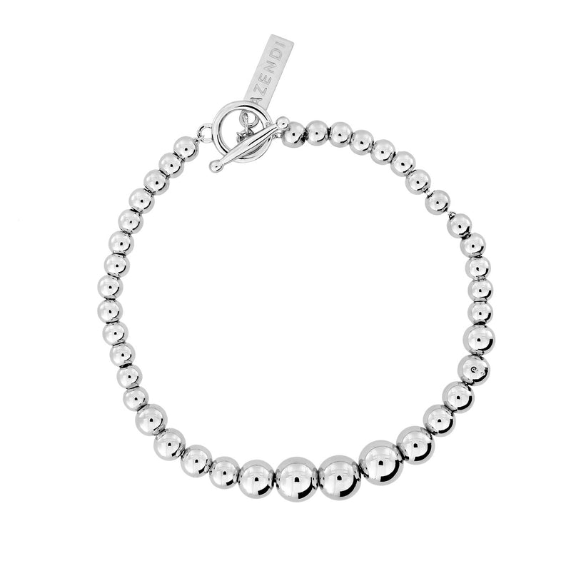 Graduated Silver Bead Bracelet with T-Bar