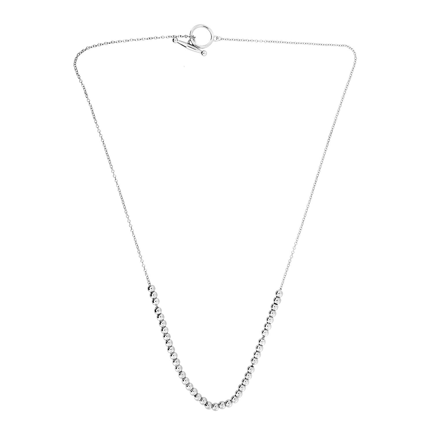 Slim Silver Bead T-Bar Necklace