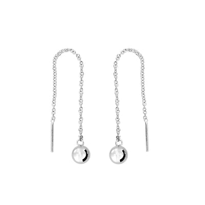 Silver Bead Threader Earring