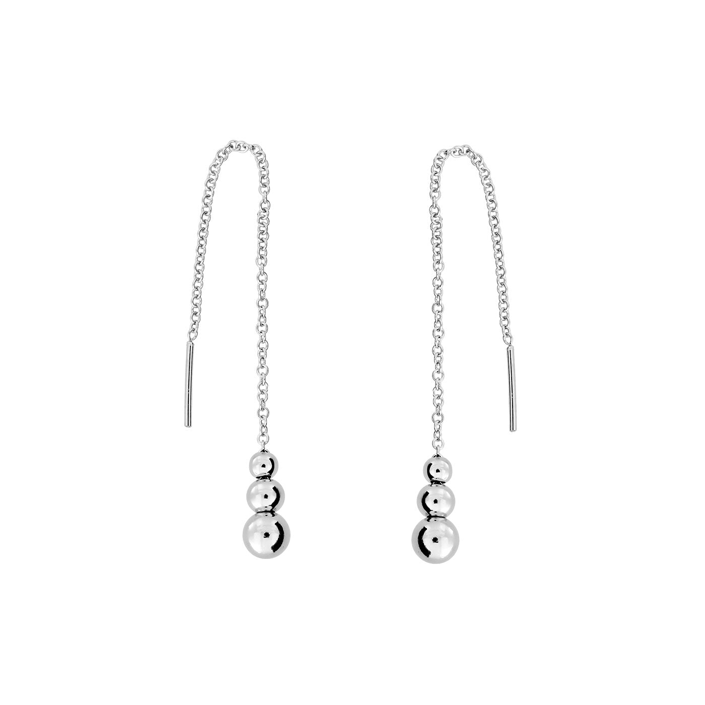 Silver Triple Bead Threader Earring