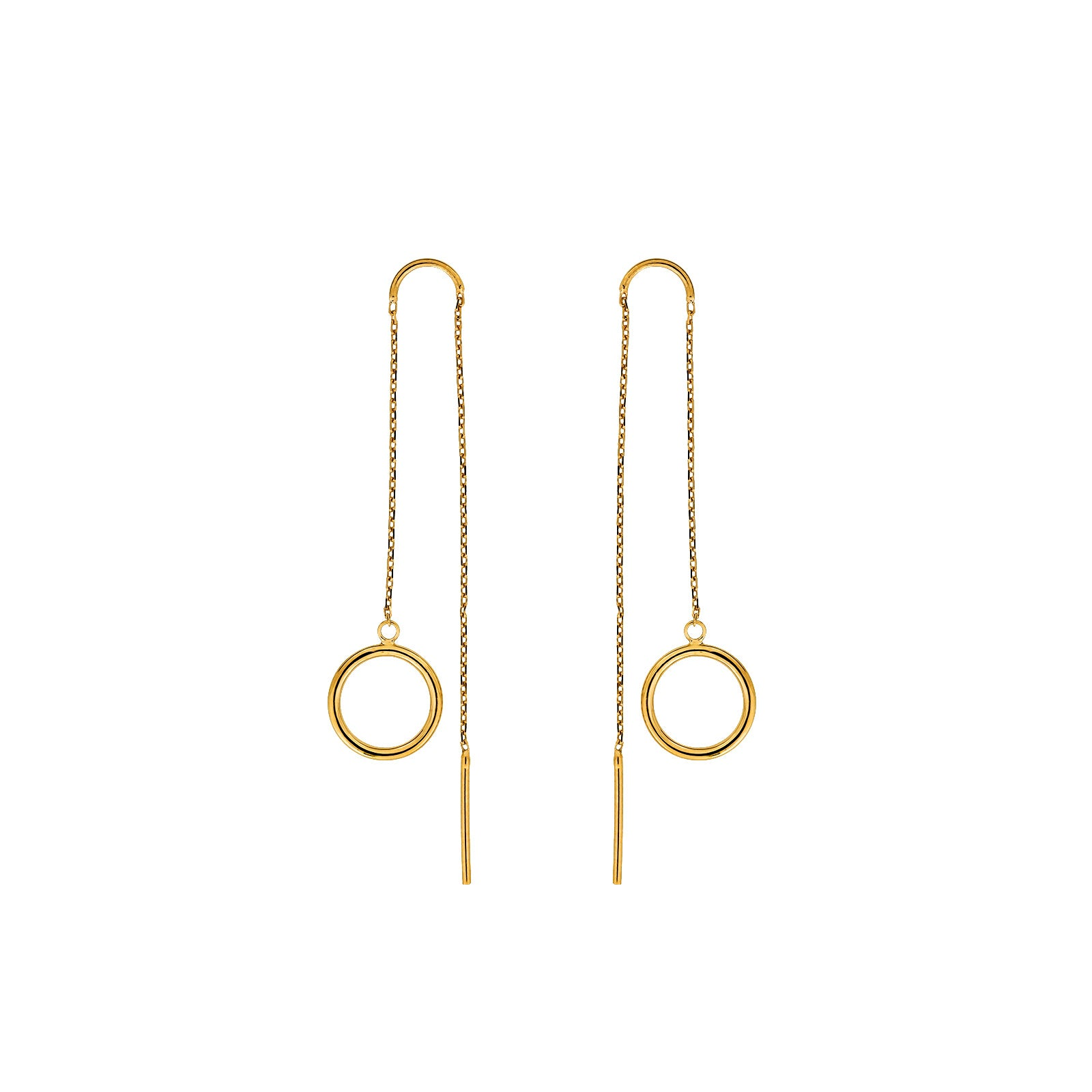 9ct Gold Open Circle Threader Earrings