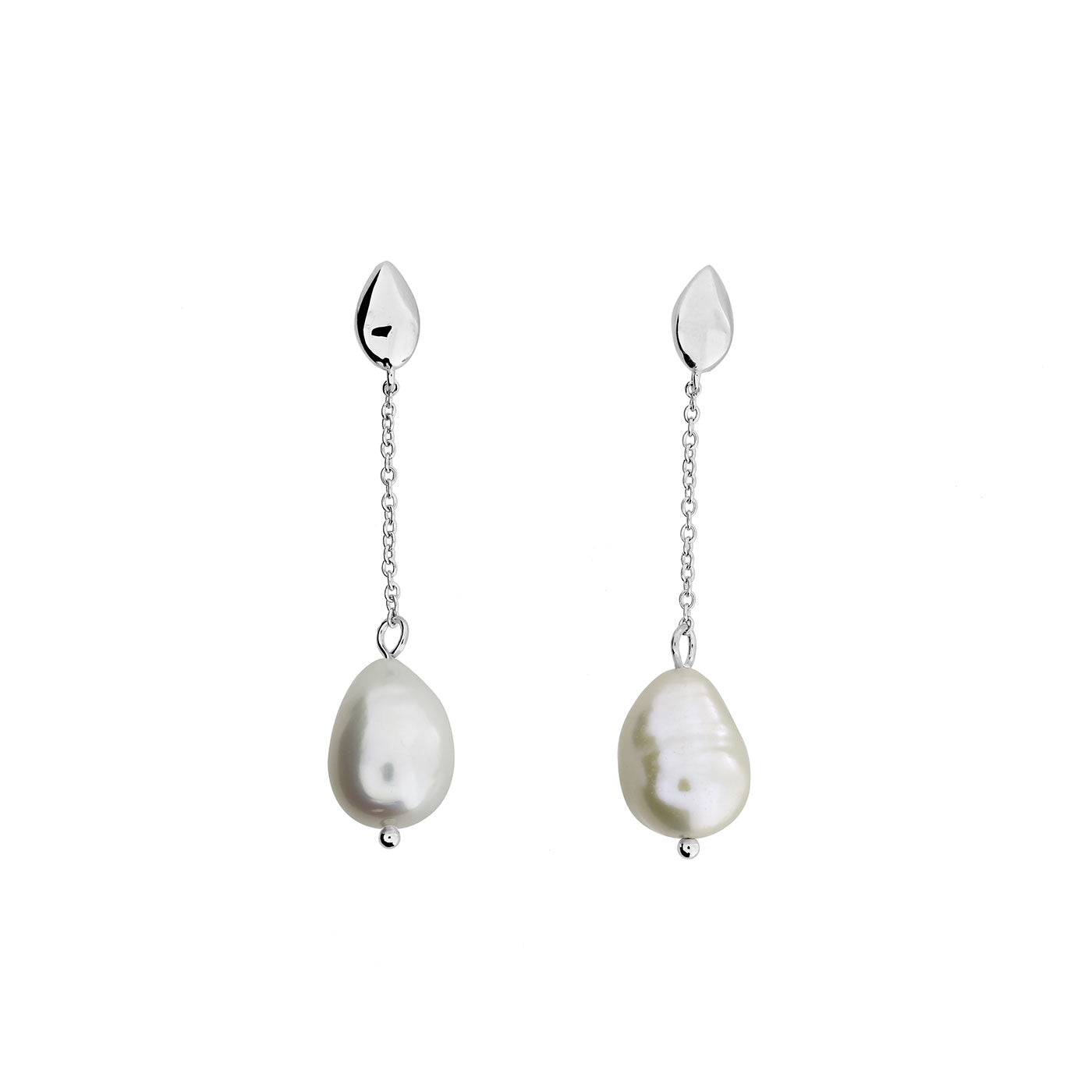 Silver Pebble & Baroque Pearl Drop Earrings
