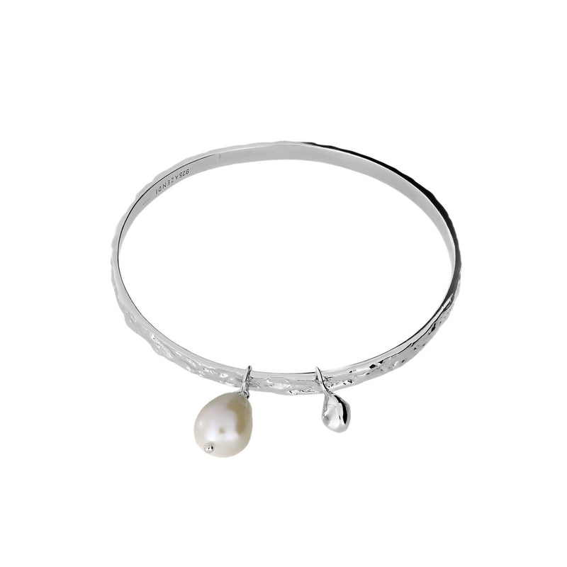 Textured Silver Bangle with Baroque Pearl Charm