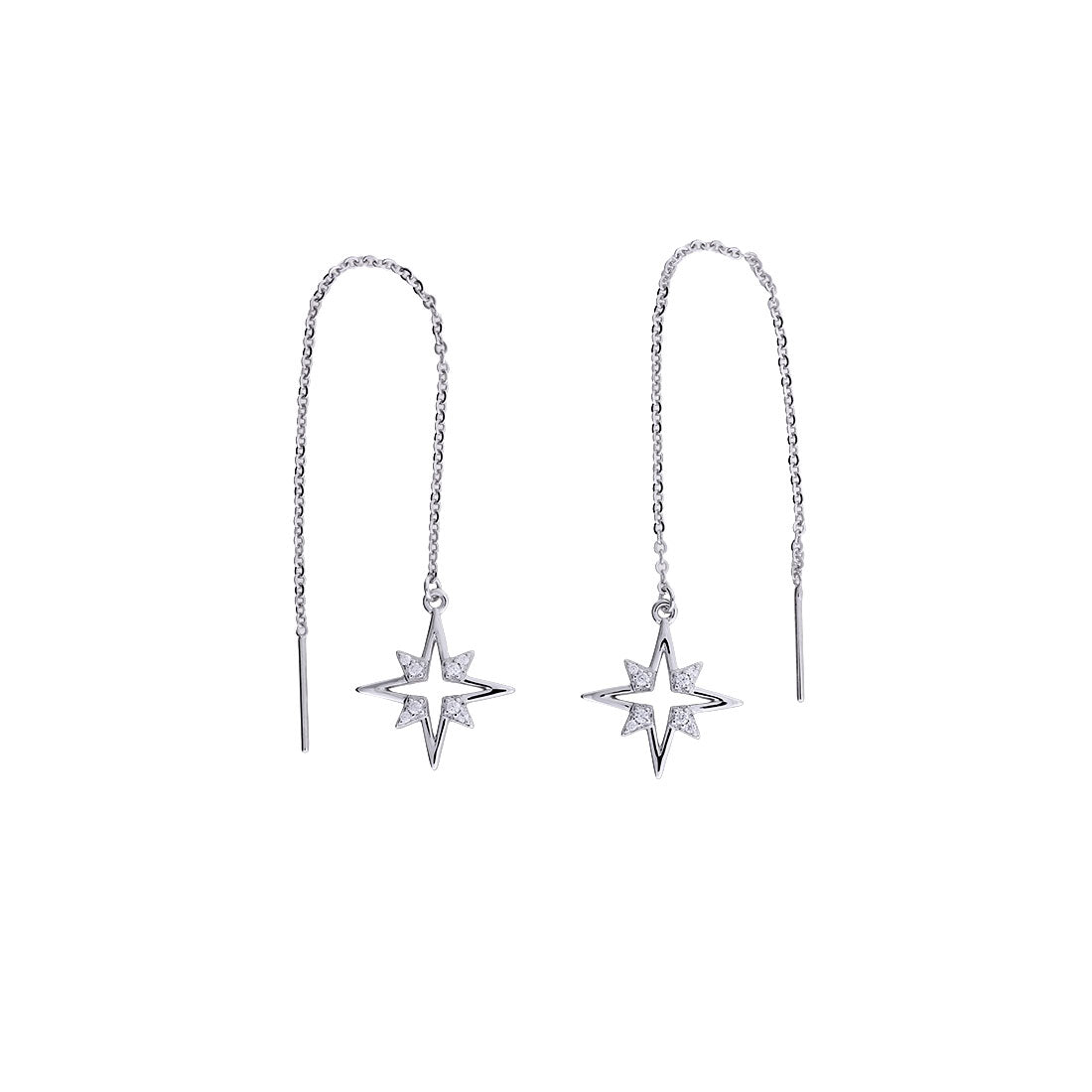 Silver Pavé Open Star Threader Earrings