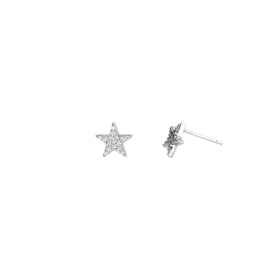 Little Pavé Star Stud Earrings - Silver