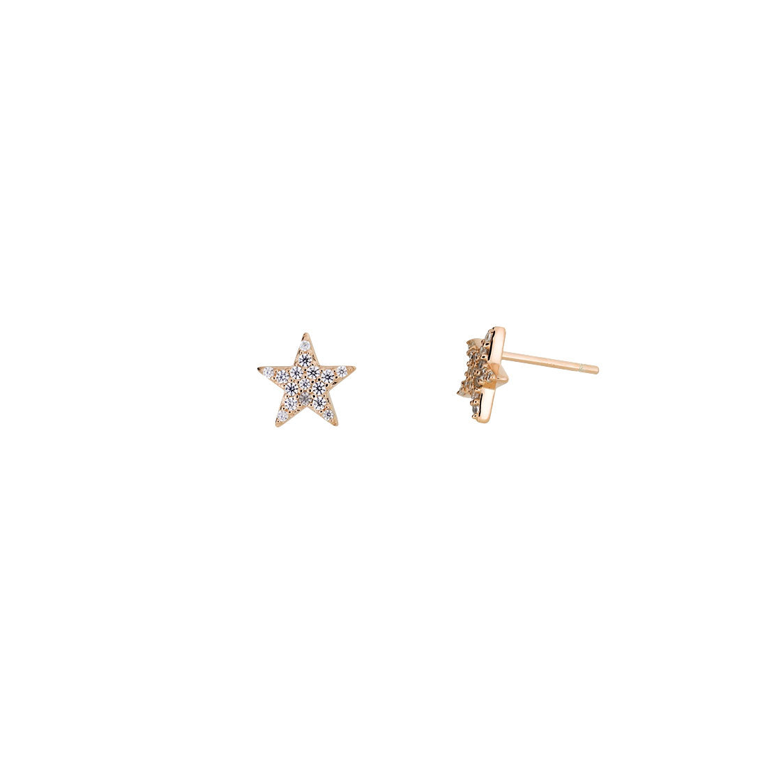 Little Pavé Star Stud Earrings - Rose Vermeil