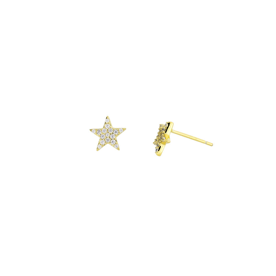 Little Pavé Star Stud Earrings - Gold Vermeil