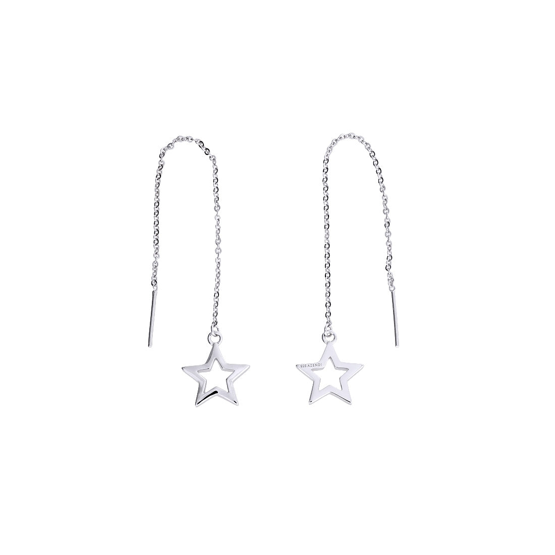 Silver Open Star Threader Earrings