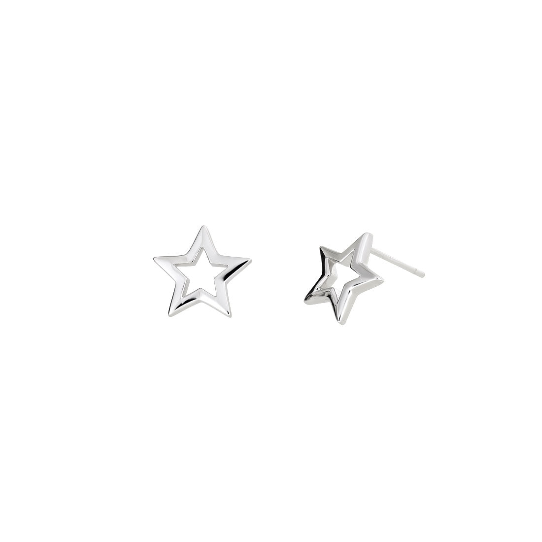 Open Star Stud Earrings - Silver