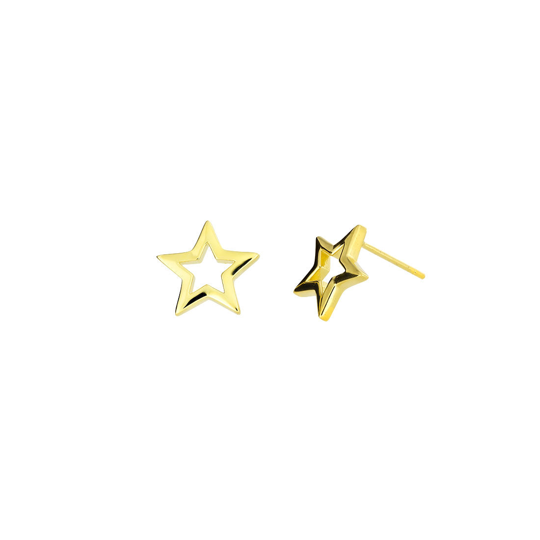 Open Star Stud Earrings - Gold Vermeil
