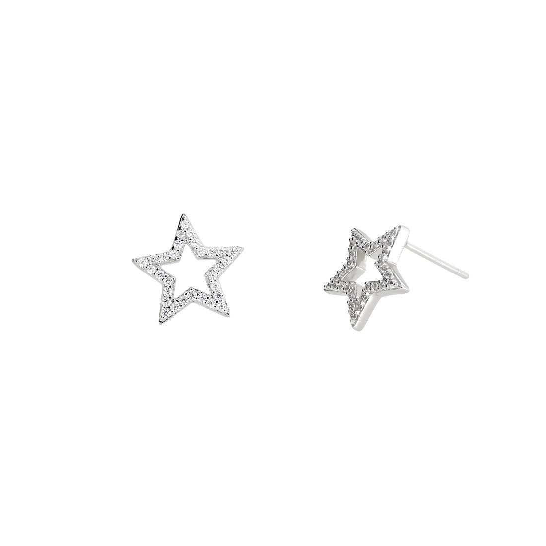 Pavé Open Star Stud Earrings - Silver
