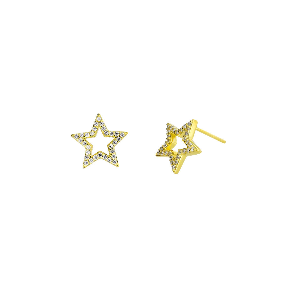 Pavé Open Star Stud Earrings - Gold Vermeil