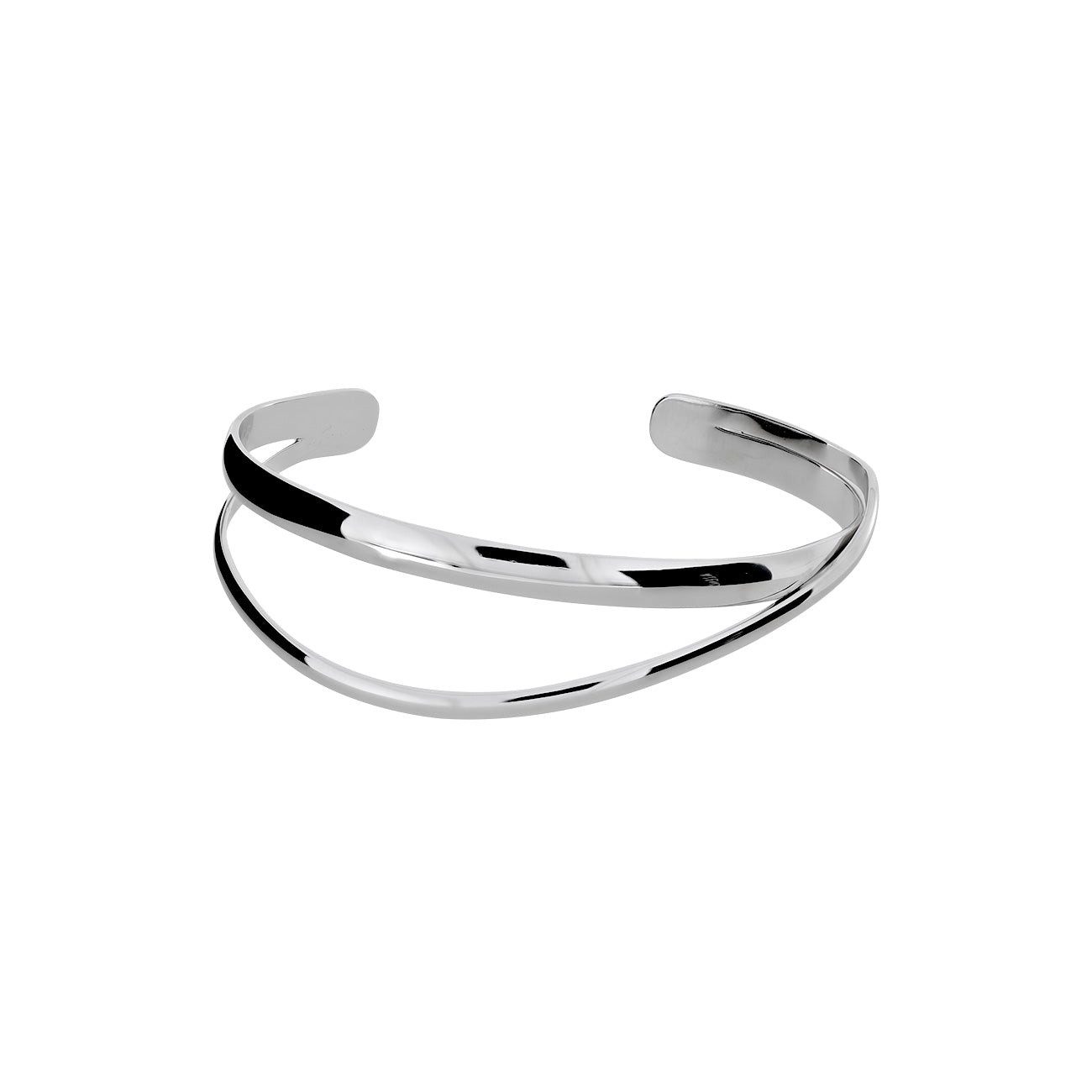 Double Strand Crossover Silver Bangle