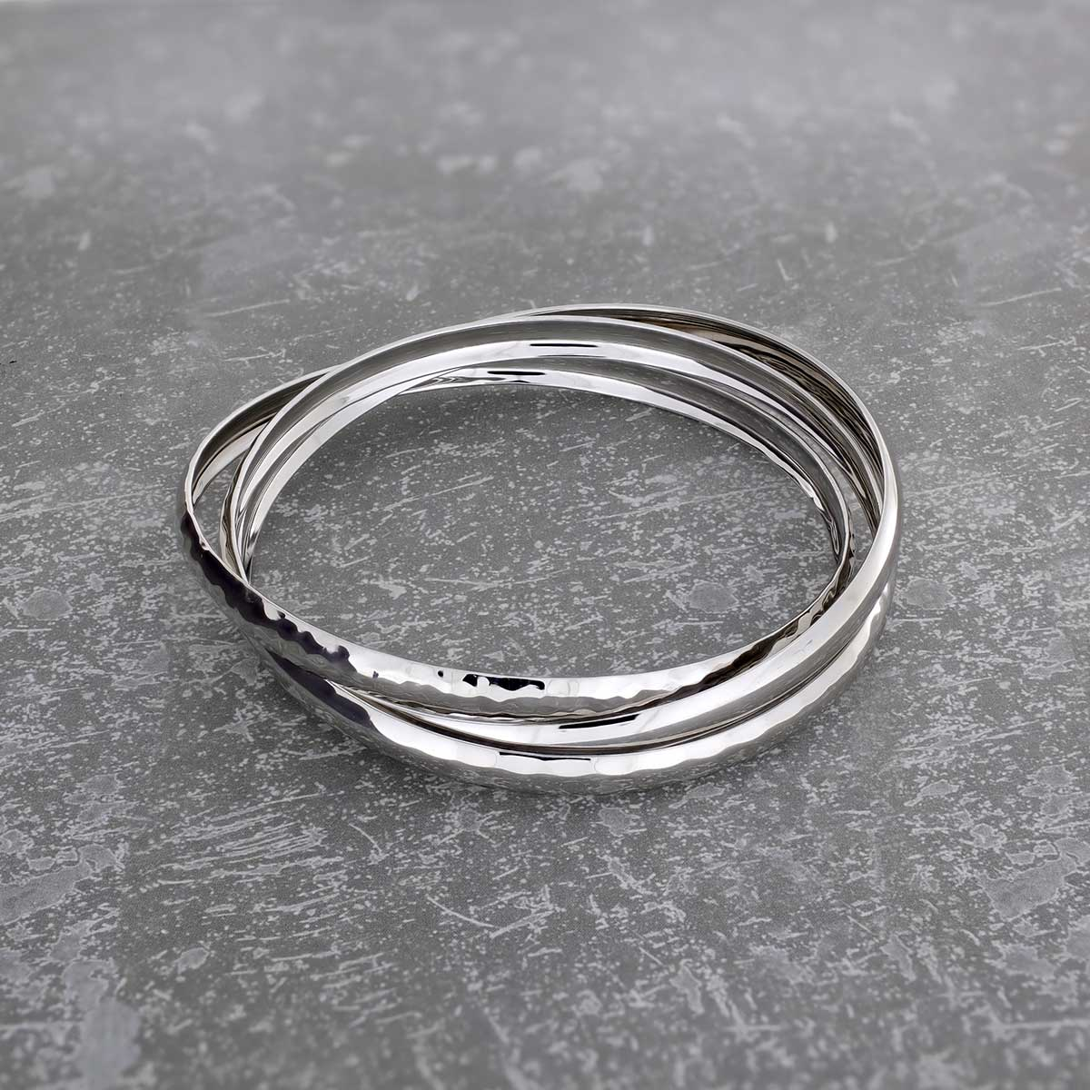 Silver Textures Triple Bangle