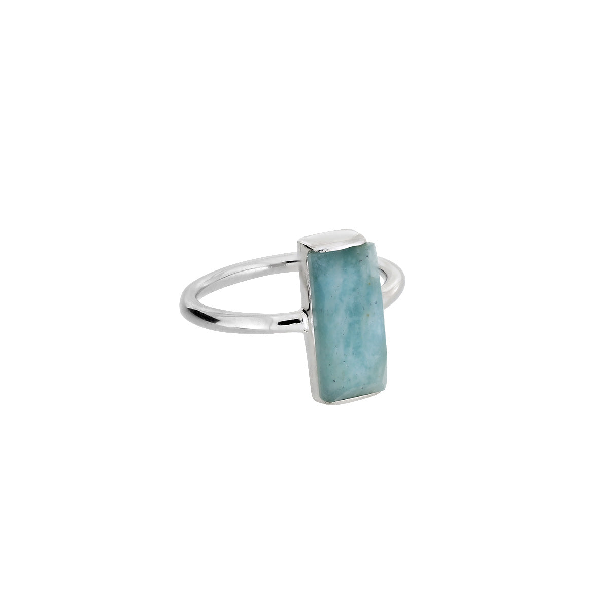 Silver Amazonite Rectangle Ring