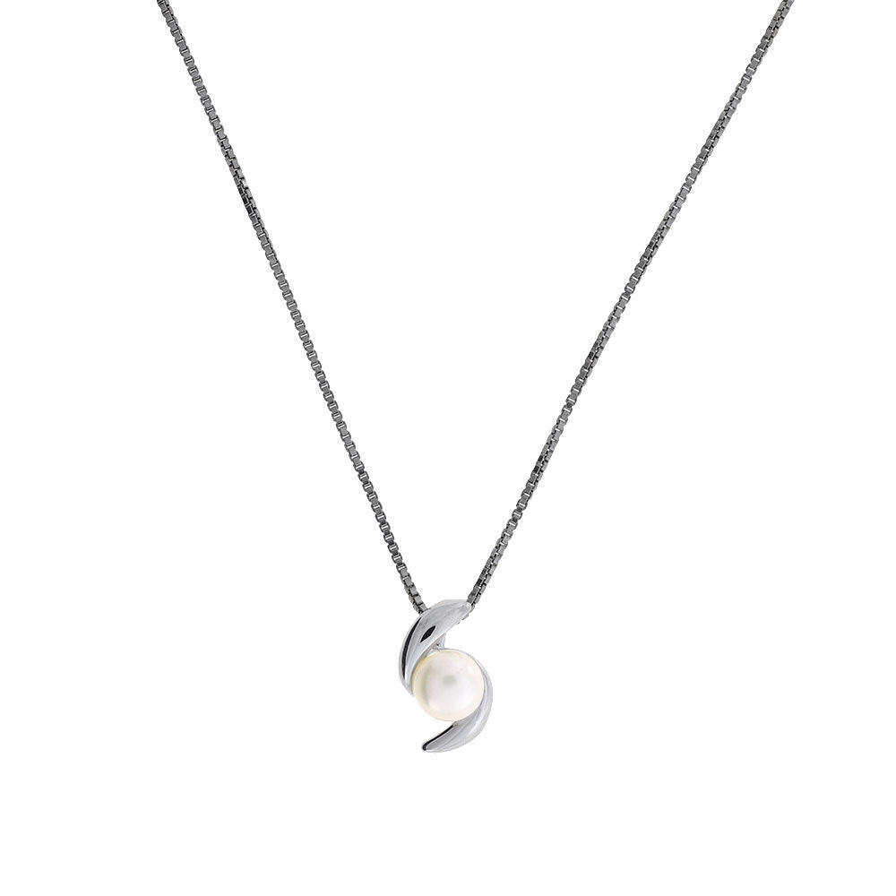 Silver & Freshwater Pearl Curves Pendant