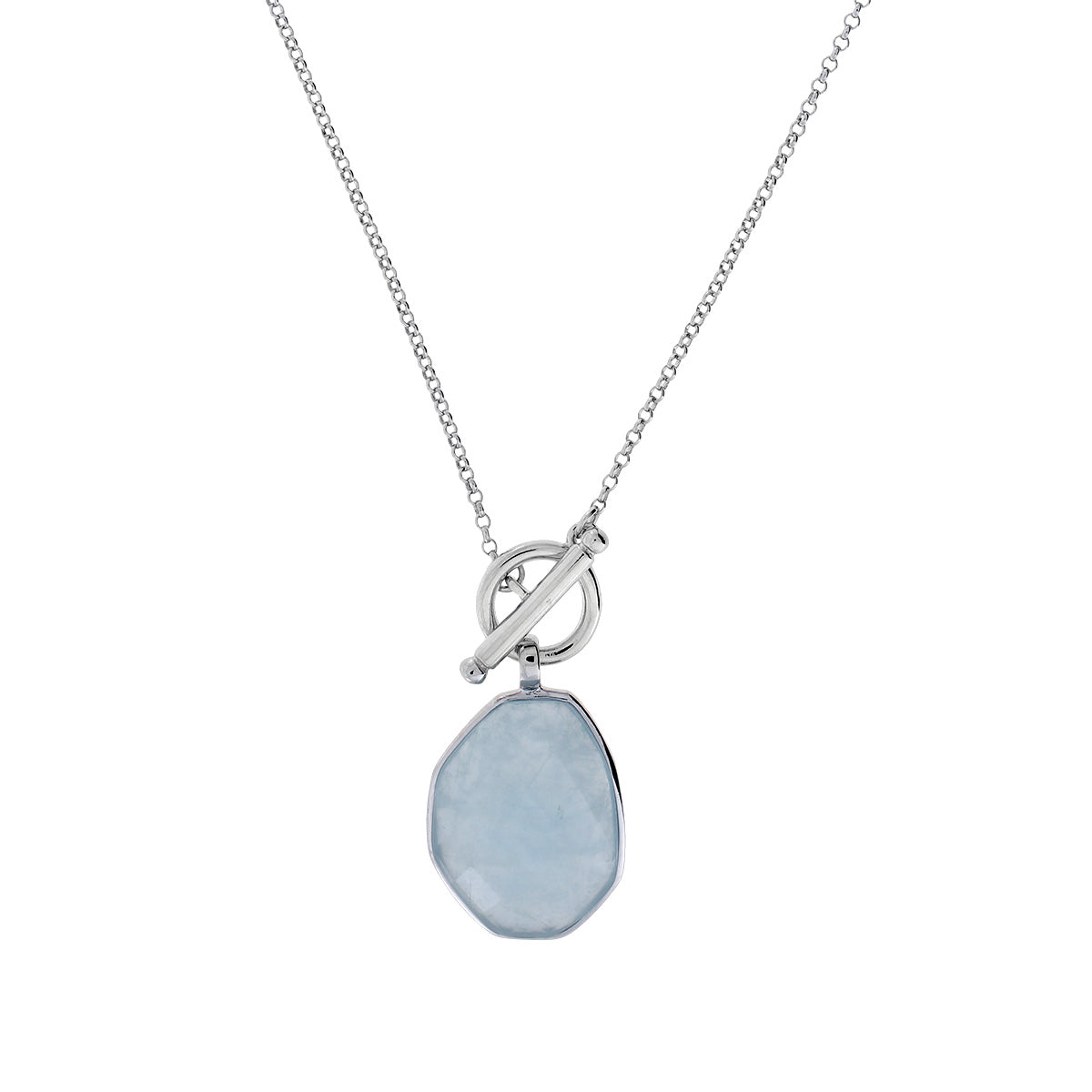 Aqua Chalcedony Silver T-Bar Necklace