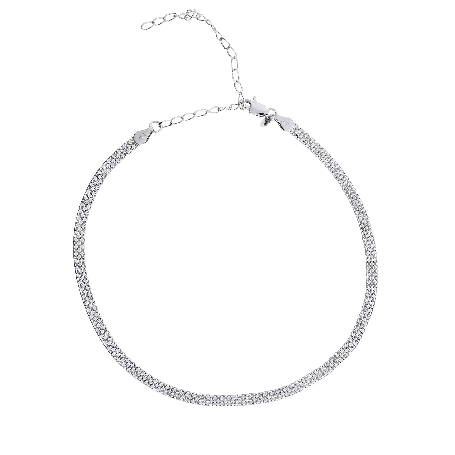 Silver Flat Box Chain Choker Necklace