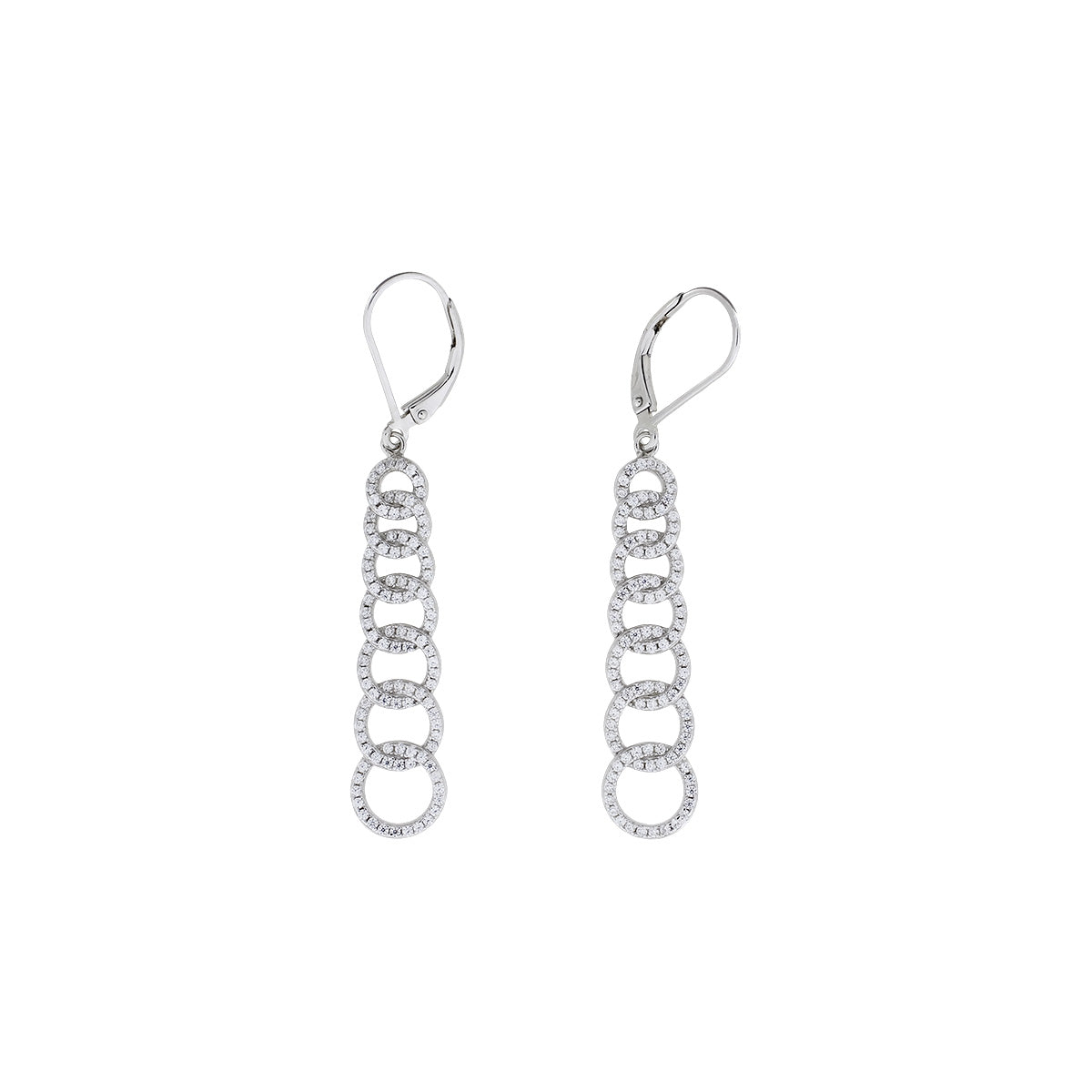 Pavé Seven Interlocking Circles Drop Earrings