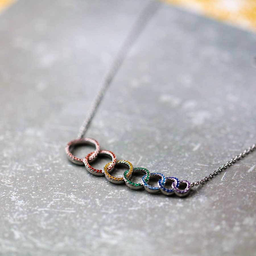 Rainbow Pavé Interlocking Seven Circles Necklace