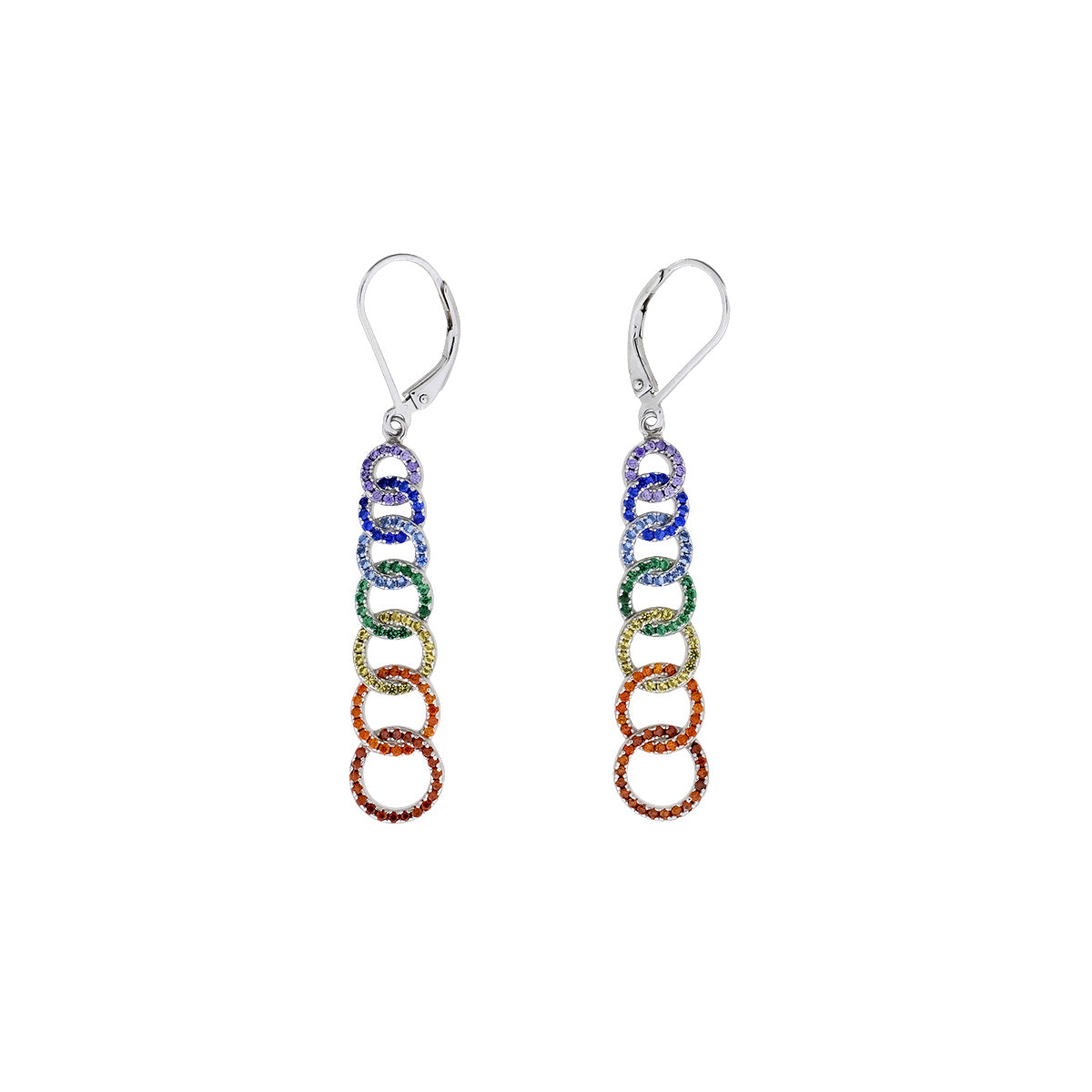 Rainbow Pavé Seven Interlocking Circles Drop Earrings