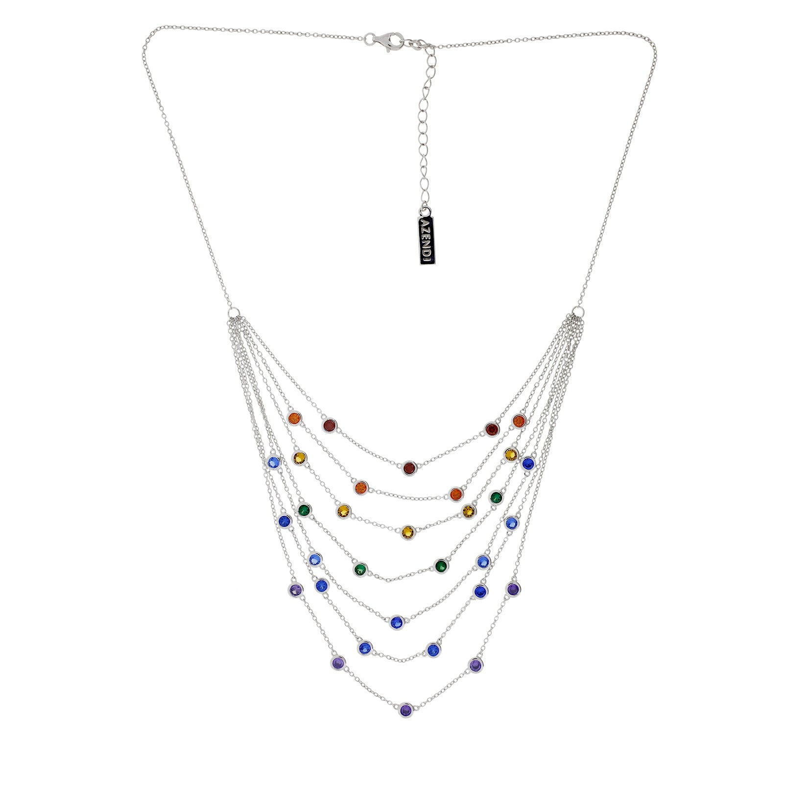 Seven Layer Rainbow Sparkling Necklace