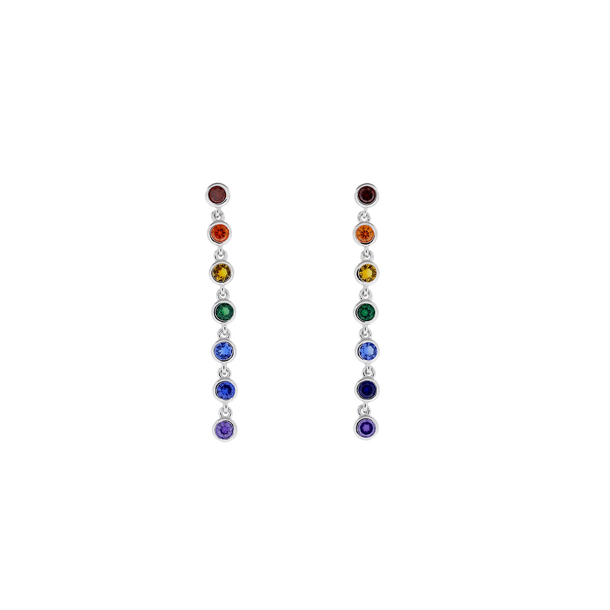 Seven Stones Rainbow Sparkling Drop Earrings
