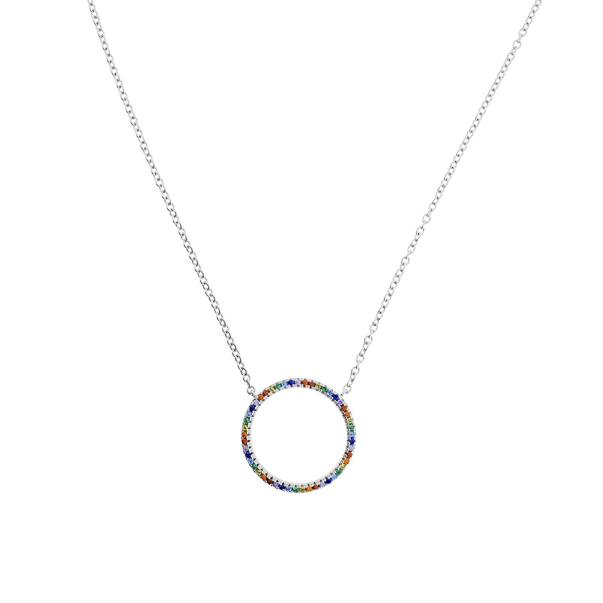 Pavé Rainbow Open Circle Necklace