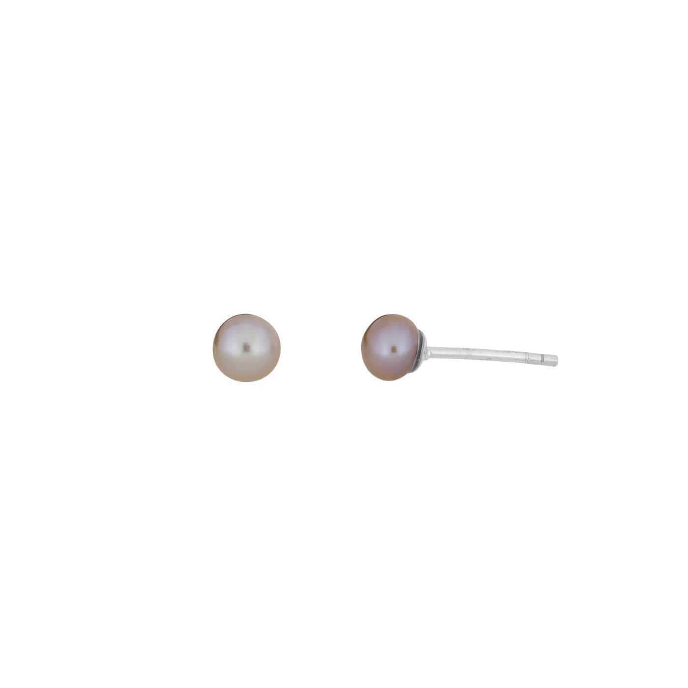 4mm Pink Pearl Stud Earrings