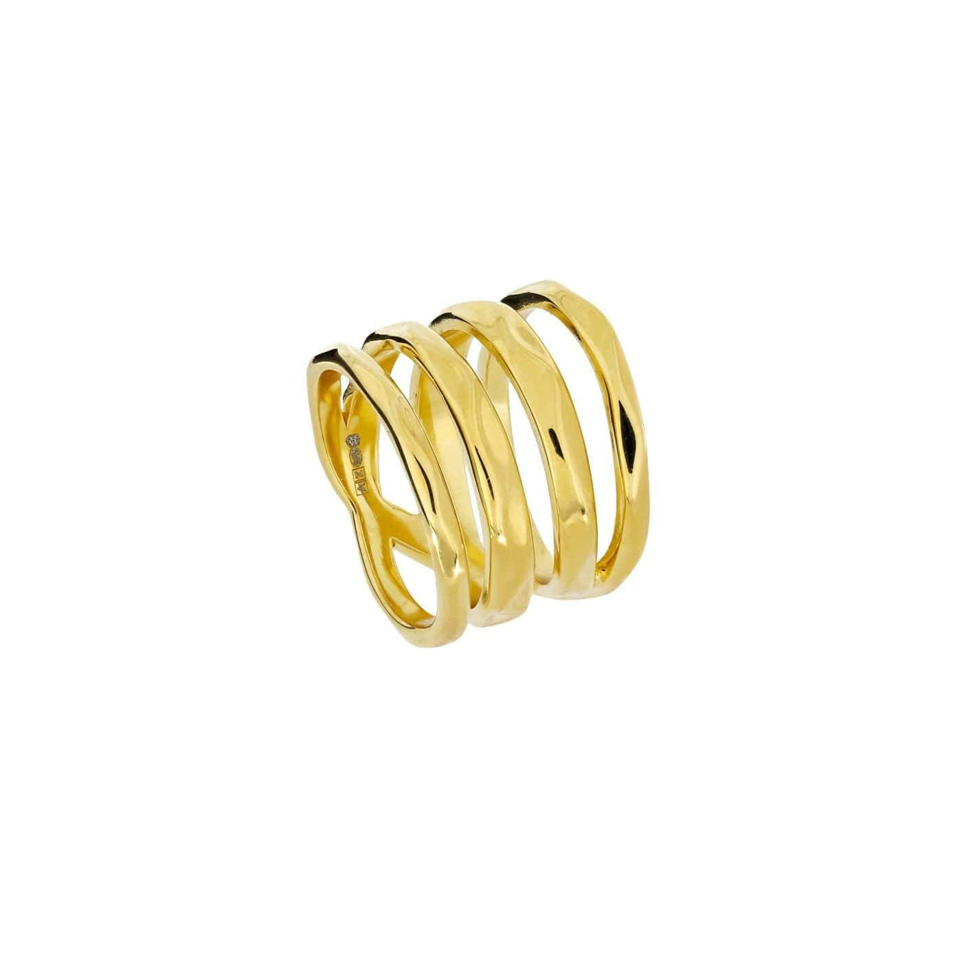 50 / Gold Vermeil Hammered Crossover Wide Ring