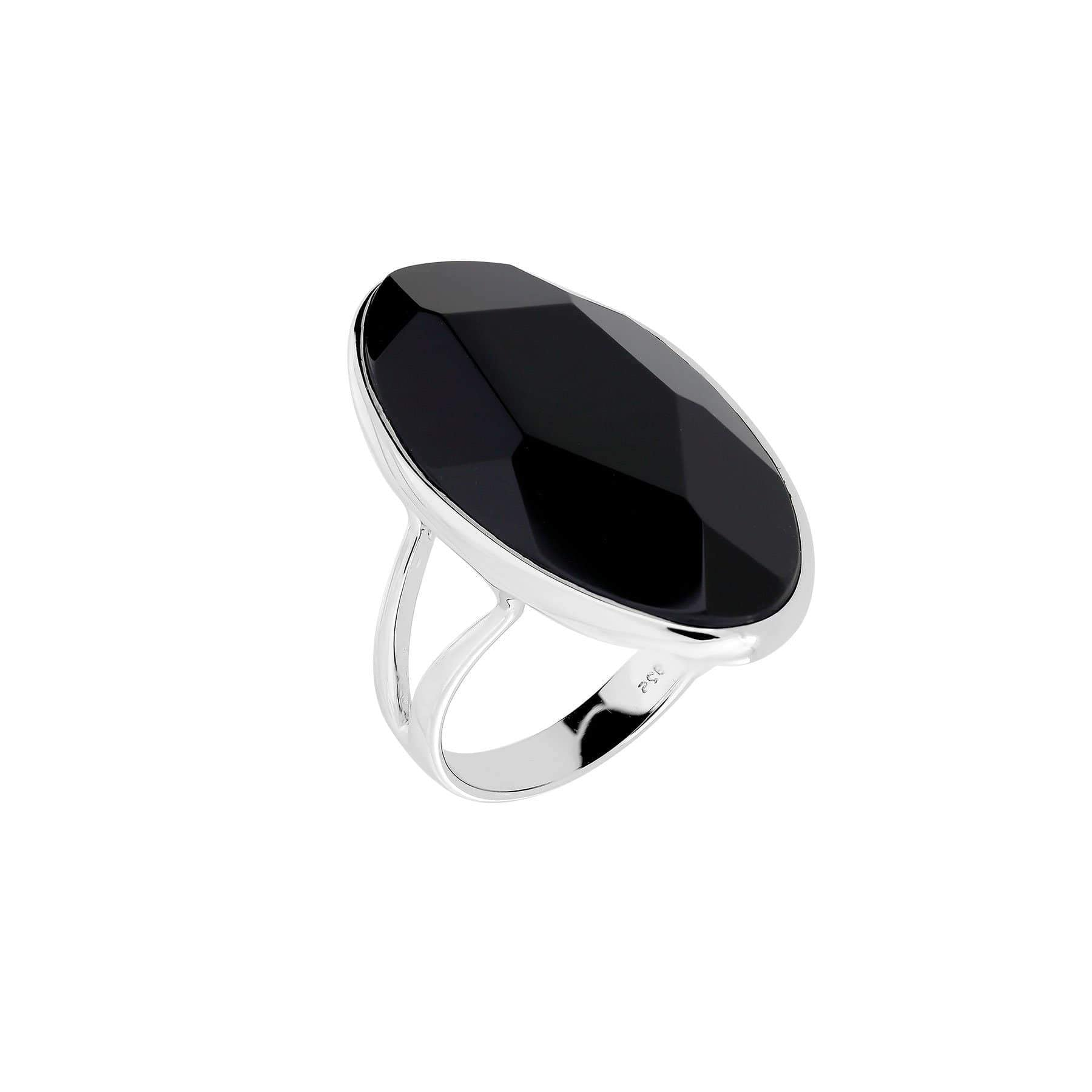 52 Black Agate & Sterling Silver Ring